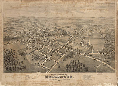 Nj Drawing - Vintage Pictorial Map Of Morristown Nj - 1876 by CartographyAssociates