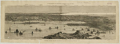 Drawings Royalty Free Images - Vintage Pictorial Map of Newport RI - 1873 Royalty-Free Image by CartographyAssociates
