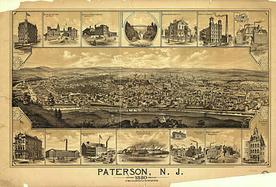 Nj Drawing - Vintage Pictorial Map Of Paterson Nj - 1880 by CartographyAssociates