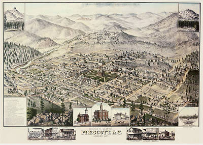 Prescott Drawing - Vintage Pictorial Map Of Prescott Arizona - 1885 by CartographyAssociates