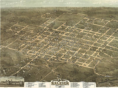 Vintage Pictorial Map Of Raleigh Nc - 1872 Art Print