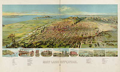 Birdseye Map Drawing - Vintage Pictorial Map Of Salt Lake City - 1891 by CartographyAssociates
