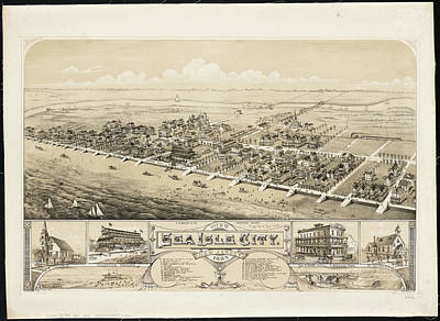 Drawings Royalty Free Images - Vintage Pictorial Map of Sea Isle City NJ - 1885 Royalty-Free Image by CartographyAssociates