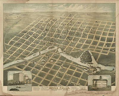 Vintage Pictorial Map Of Sioux Falls Sd - 1881 Art Print by CartographyAssociates