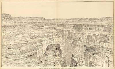 Grand Canyon Drawing - Vintage Pictorial Map Of The Grand Canyon - 1895 by CartographyAssociates