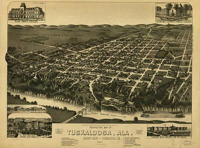 Vintage Pictorial Map Of Tuscaloosa Alabama - 1887 Art Print