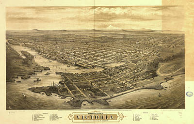 Vancouver Drawing - Vintage Pictorial Map Of Victoria Vancouver - 1878 by CartographyAssociates