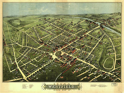Nj Drawing - Vintage Pictorial Map Of Westfield Nj - 1875 by CartographyAssociates