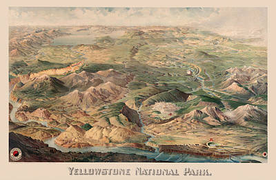 Yellowstone Drawing - Vintage Pictorial Map Of Yellowstone Park - 1904 by CartographyAssociates