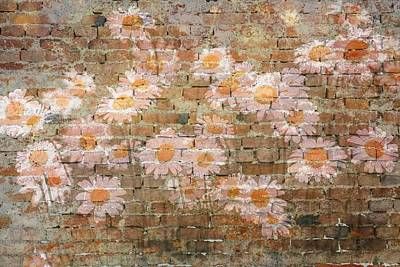 Mixed Media - Vintage Pink Daisy Graffiti by Clive Littin