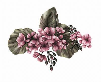 Digital Art - Vintage Pink Geraniums by Georgiana Romanovna
