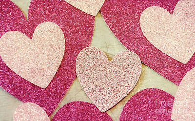 Photograph - Vintage Pink Glitter Hearts by Andrea Anderegg