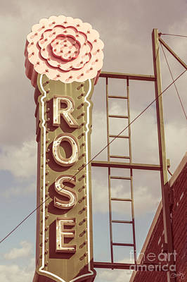 Photograph - Vintage Pink Rose Neon Sign by Imagery by Charly