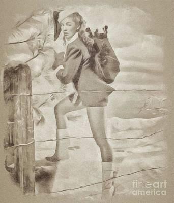 John Wayne Drawing - Vintage Pinup by John Spirngfield
