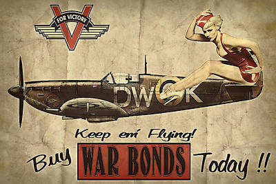 Spitfire Photograph - Vintage Pinup Warbond Ad by Cinema Photography