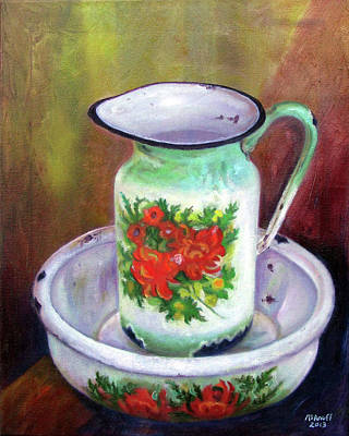 Painting - Vintage Pitcher And Wash Bowl Set by Ewan  McAnuff