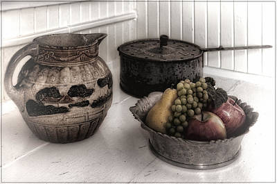 Vintage Pitcher, Pan, And Fruit Bowl Art Print by Mitch Spence