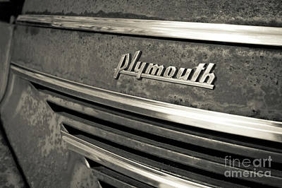 Photograph - Vintage Plymouth Nameplate by Edward Fielding