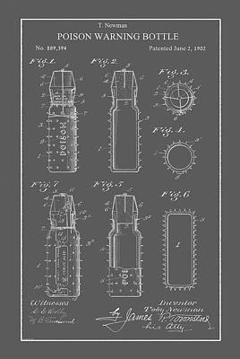 Drawing - Vintage Poison Bottle Patent by Vintage Pix
