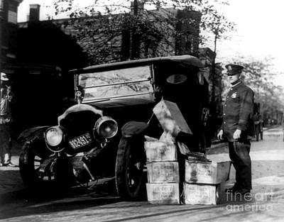 Photograph - Vintage Policeman With Bootleggers Car Wreck 1922 by Peter Gumaer Ogden Collection
