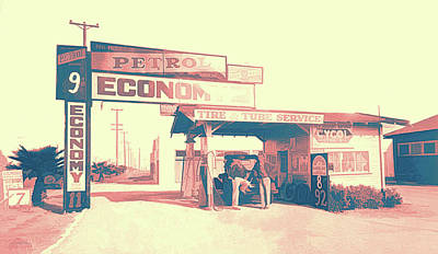 Digital Art - Vintage Pop No 4 Economy Petrol Service Station by David King
