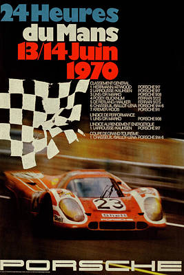 Transportation Mixed Media - Vintage Porsche Racing Car Poster by Design Turnpike