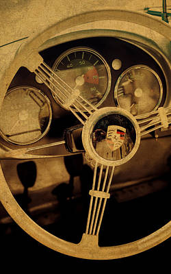 Wheel Mixed Media - Vintage Porsche Steering Wheel by Design Turnpike