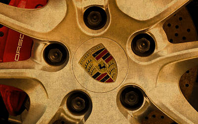 Wheel Mixed Media - Vintage Porsche Wheel Logo by Design Turnpike