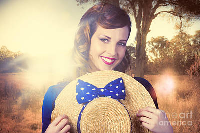 Vintage Portrait Of A Country Pinup Girl Art Print by Jorgo Photography - Wall Art Gallery