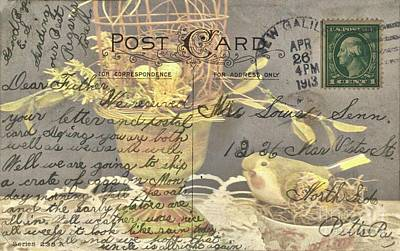 Photograph - Vintage Post Card From 1913 by Janette Boyd and Janie Chase