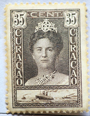 Photograph - Vintage Postage Stamp Of Dutch Queen Wilhelmina by Patricia Hofmeester