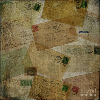 Photograph - Vintage Postcards Square by Edward Fielding