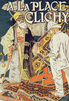 Persian Carpet Painting - Vintage Poster Advertising A La Place Clichy, A Shop Specializing In Oriental Goods, 1891 by Eugene Grasset