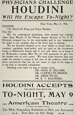 Amazing Adverts Drawing - Vintage Poster Advertising A Performance By Houdini At The American Theatre, May 1906  by American School
