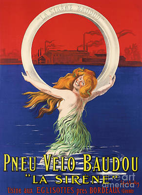 Flappers Painting - Vintage Poster Advertising La Sirene Bicycle Tires by Leonetto Cappiello