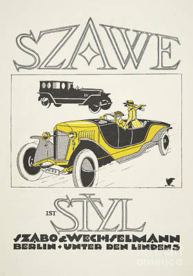 Logos Drawing - Vintage Poster Depicting Classic Car From The Twenties by German School
