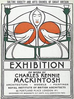 Drawing - Vintage Poster Design By Charles Rennie Mackintosh by Charles Rennie Mackintosh