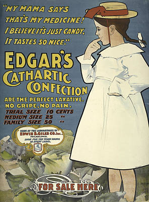 Digital Art - Vintage Poster Edgar's Cathartic Confection by Phat Artz