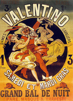 Dancing Girl Drawing - Vintage Poster For Cabaret Valentino  by Jules Cheret