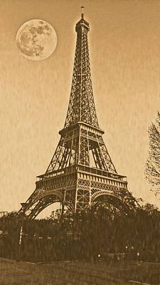Paris Painting - Vintage Poster Of Eiffel Tower  by Celestial Images