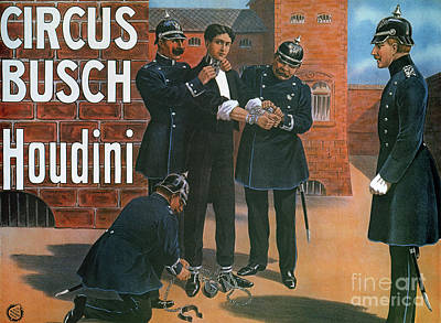 Policeman Painting - Vintage Poster Showing Houdini Prior To An Escape From A German Prison, 1907 by German School