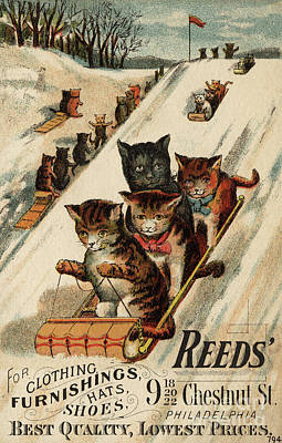 Winter Scenes Painting - Vintage Poster With Cats by American School