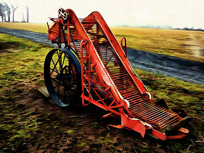 Old Country Roads Digital Art - Vintage Potato Digger by Leslie Montgomery