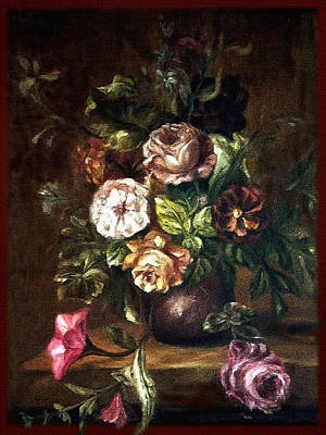 Painting - Vintage - Pots And Flowers  by Richa Malik