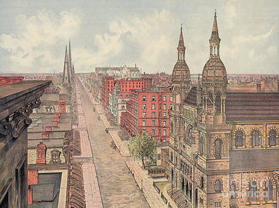 Print Of Painting - Vintage Print Of Fifth Avenue From 42nd Street In New York City, Looking North, 1904 by American School