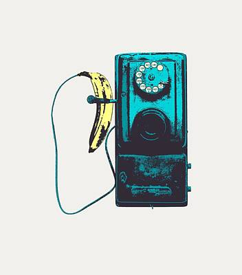 Banana Digital Art - Vintage Public Telephone by Illustratorial Pulse