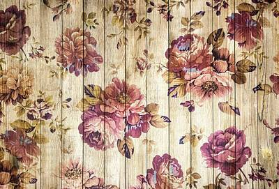 Mixed Media - Vintage Purple Shabby Chic Country Roses On Wood by Joy of Life Art Gallery
