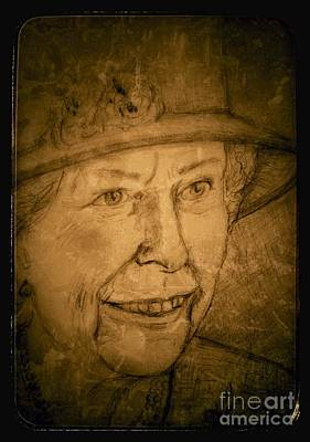 Drawing - Vintage Queen Elizabeth B by Joan-Violet Stretch