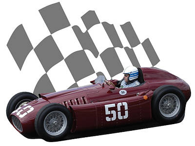 Photograph - Vintage Racing Car And Flag 1 by John Colley