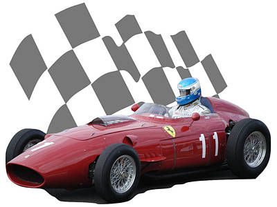 Photograph - Vintage Racing Car And Flag 2 by John Colley